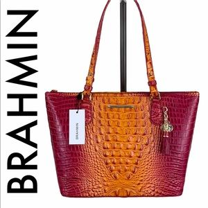 BRAHMIN NWT PINK ORANGE LEATHER SHOULDER TOTE BAG
